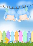 Stock Illustration of twin baby boys on clothesline
