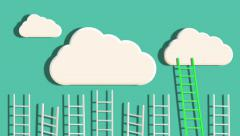 Ladders to the Clouds. Alpha Matte Stock Footage