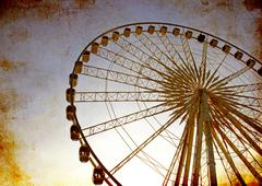 ferris wheel with blue sky, photo in old image style - stock illustration