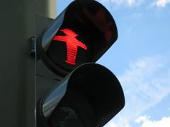 Red signal, traffic light Stock Photos