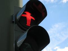 red signal, traffic light - stock photo