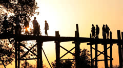 U Bein Teak Bridge, Burma Stock Footage