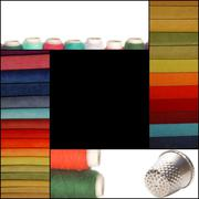 background sewing, fabric, thread and thimble - stock photo