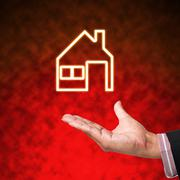 Icon of home with business hand  on abstract background Stock Illustration