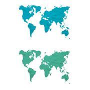 Plasticine world map on white background, isolated Stock Illustration