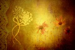 Background wild flowers in vintage fabric texture Stock Photos