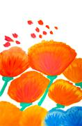 Color flowers in watercolor hand painted, isolated Stock Photos