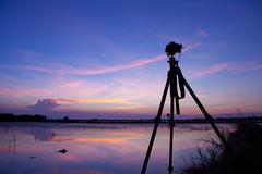 camera shooting time lapse - stock photo