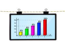 lcd screen with chart - stock photo