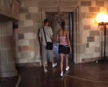 Walking inside the Palace of the Grandmasters in Rhodes Stock Footage