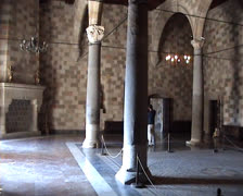 Stone columns inside the Palace of the Grandmasters Stock Footage