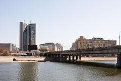 View of the bridge novoarbatsky krasnopresnenskaya embankment and moscow Stock Photos