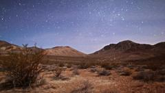 Moonlit Stars Timelapse over Death Valley Desert and Mountains Stock Footage