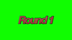 Fighting Video Game Style Round 1 and Continue Text on a Green Screen Background Stock Footage