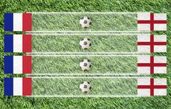 plasticine football flag on grass background for score (group d) - stock illustration
