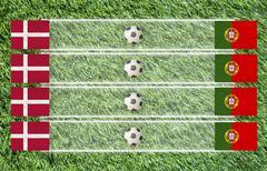 plasticine football flag on grass background for score - stock illustration