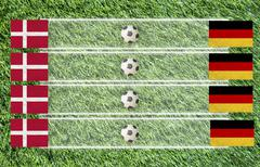 plasticine football flag on grass background for score (group b) - stock illustration