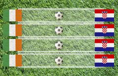 plasticine football flag on grass background for score (group c) - stock illustration
