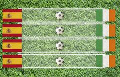 Plasticine football flag on grass background for score (group c) Stock Illustration
