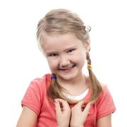 portrait of shy girl - stock photo