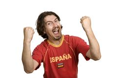 Espanjan nuori mies tukija, eristetty valkoinen Kuvituskuvat