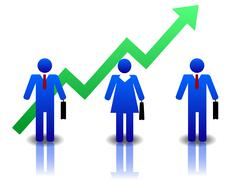 Business people blue green Stock Illustration