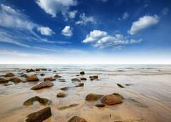 Sea sand sun beach blue sky thailand landscape nature viewpoint background pa Stock Photos