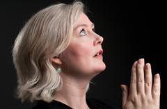Caucasian Woman In Prayer - stock photo