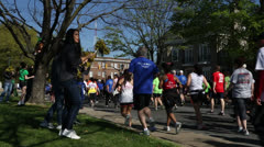 Spectators cheering for 10K participants EDITORIAL USE ONLY Stock Footage