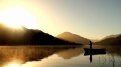 Fly fishing early in the morning - stock footage