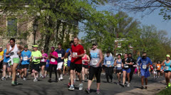 Marathon runners EDITORIAL USE ONLY Stock Footage