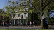 Stock Video Footage of 10K runners on Monument Avenue EDITORIAL USE ONLY