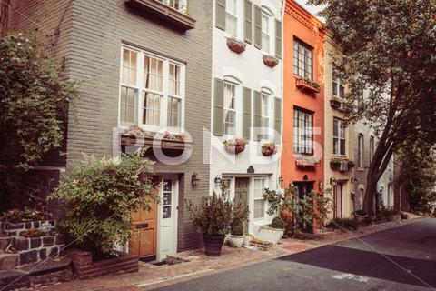Stock photo of townhouses in georgetown, washington dc