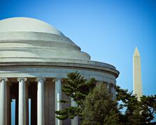The jefferson memorial dome with the washington monument in the distance. Stock Photos