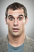 caucasian man worried expression portrtait - stock photo