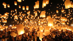 Floating lantern in Yee Peng Festival. Stock Footage