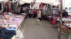 Consumer goods market street Stock Footage