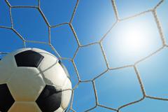 football field soccer stadium on the green grass blue sky sport game backgrou - stock photo