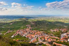 view from titano mountain, san marino at neighborhood - stock photo
