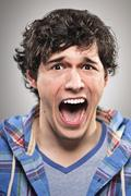 caucasian man screaming portrtait - stock photo