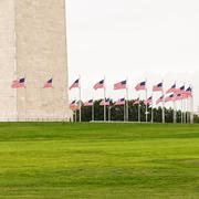 Ring Of Flags Surrounding The Washington Monument - stock photo