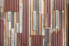 old wood and rusty roofing sheet wall - stock photo