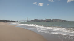 View of the Golden Gate Bridge from Crissy Field in San Francisco - stock footage