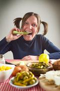 eating leek - stock photo