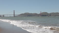 Golden Gate Bride from Crissy Field - stock footage