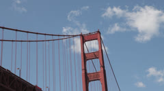 Looking up at the underside of the south span of the Golden Gate Bridge - stock footage