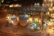 Stock Photo of lighting of petrochemical factory in night time