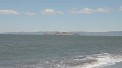 Stock Video Footage of View of Alcatraz on clear breeze day