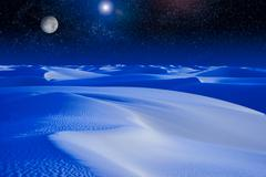 moonrise over blue sand dunes. - stock photo