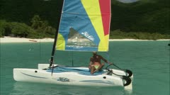 Man in Sailboat Stock Footage